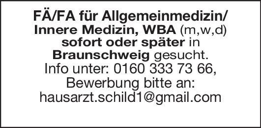FÄ/FA für Allgemeinmedizin/Innere Medizin  Innere Medizin, Allgemeinmedizin, Innere Medizin Arzt / Facharzt