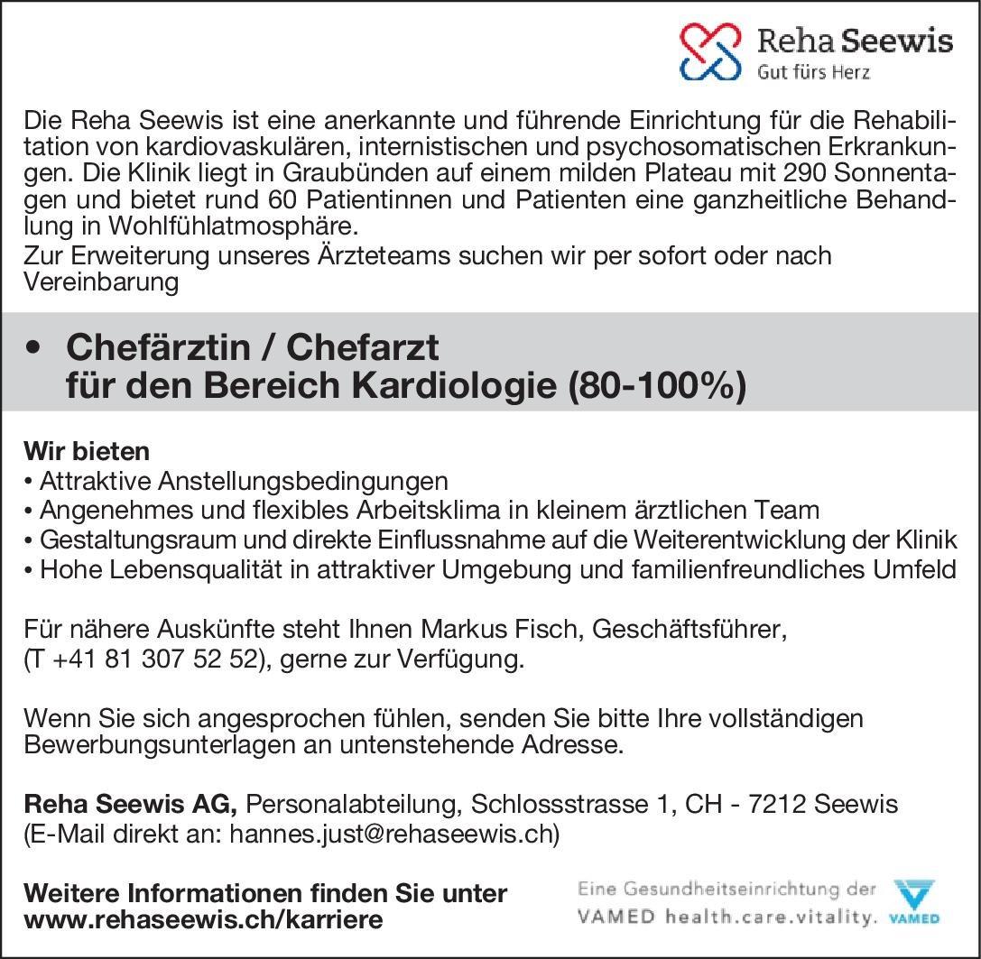 Reha Seewis Chefärztin/Chefarzt für den Bereich Kardiologie (80-100%)  Innere Medizin und Kardiologie, Innere Medizin Chefarzt