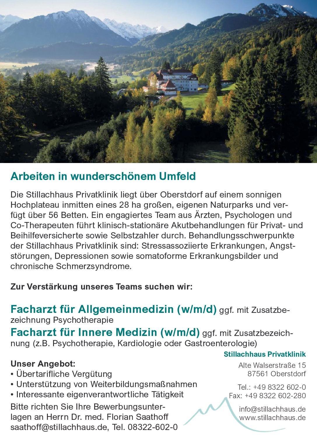Stillachhaus Privatklinik Facharzt für Allgemeinmedizin (w/m/d) Allgemeinmedizin Arzt / Facharzt