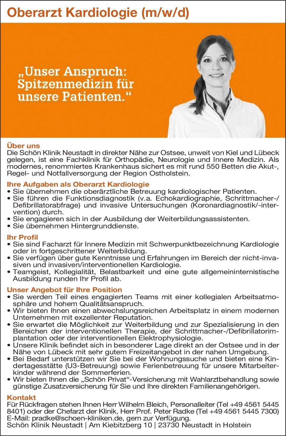 Schön Klinik Neustadt Oberarzt Kardiologie (m/w/d)  Innere Medizin und Kardiologie, Innere Medizin Oberarzt