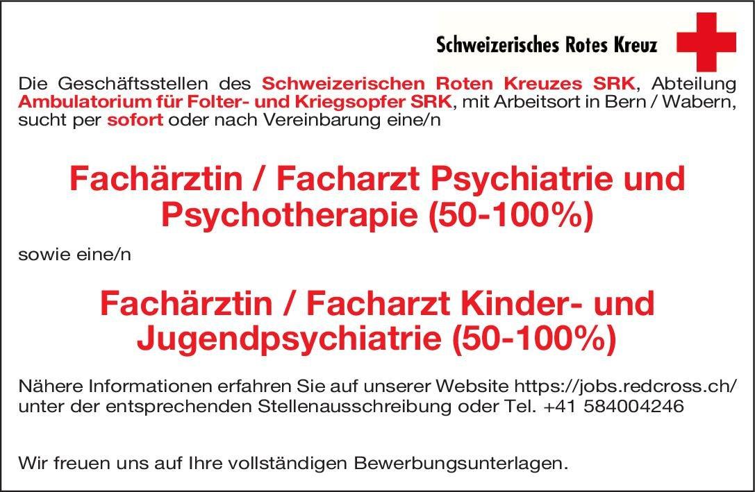 Schweizerisches Rotes Kreuz Fachärztin / Facharzt Kinder- und Jugendpsychiatrie (50-100%) Kinder- und Jugendpsychiatrie und -psychotherapie Arzt / Facharzt