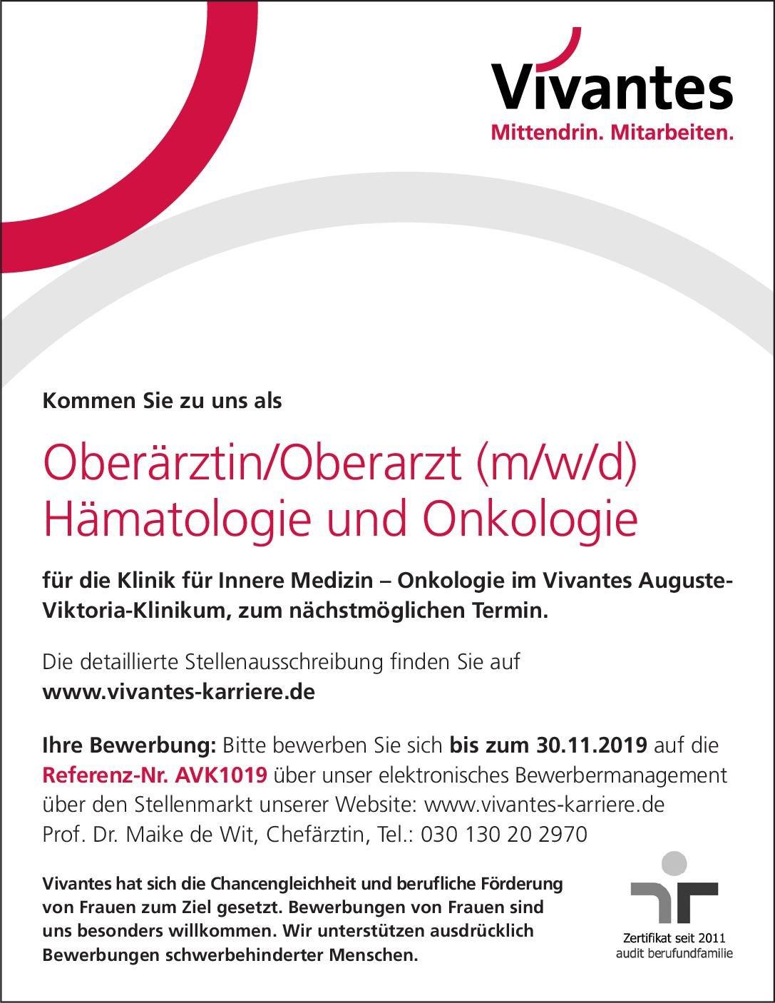 Vivantes Auguste-Viktoria-Klinikum Oberärztin/Oberarzt (m/w/d) Hämatologie  Innere Medizin und Hämatologie und Onkologie, Innere Medizin Oberarzt