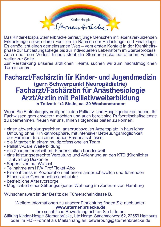 Kinder-Hospiz Sternenbrücke Facharzt/Fachärztin für Kinder- und Jugendmedizin (gern Schwerpunkt Neuropädiatrie)/  Kinder- und Jugendmedizin, Kinder- und Jugendmedizin Arzt / Facharzt