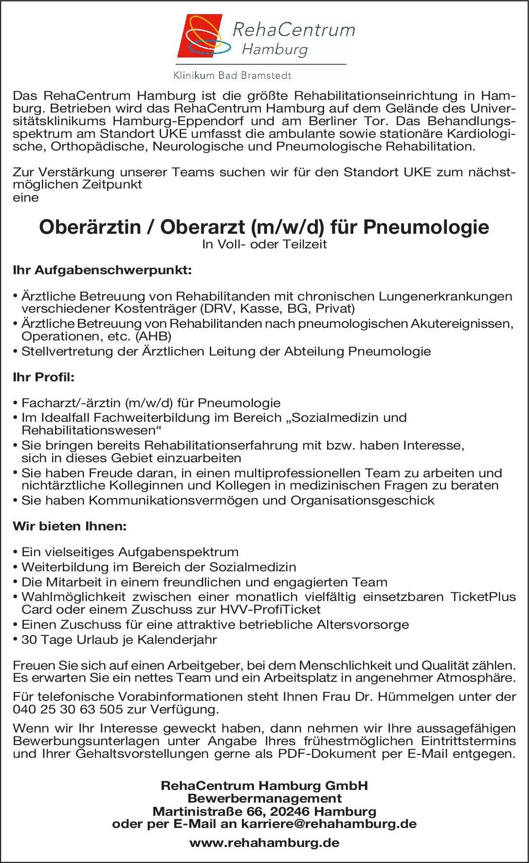 RehaCentrum Hamburg GmbH Oberärztin / Oberarzt (m/w/d) für Pneumologie  Innere Medizin und Pneumologie, Innere Medizin Oberarzt