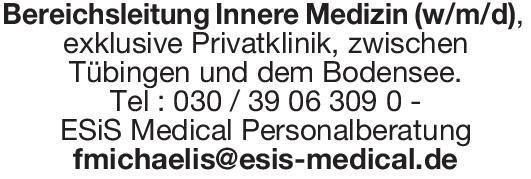 Privatklinik Bereichsleitung Innere Medizin (w/m/d)  Innere Medizin, Innere Medizin Arzt / Facharzt, Ärztl. Leiter