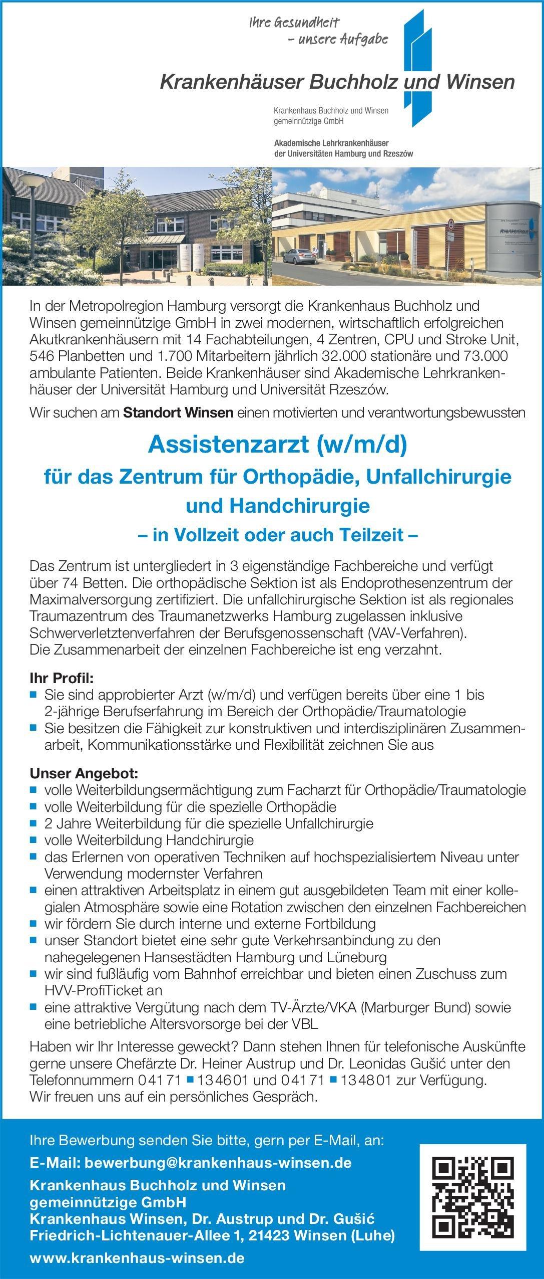 Krankenhaus Buchholz und Winsen gemeinnützige GmbH Assistenzarzt (w/m/d) für das Zentrum für Orthopädie, Unfallchirurgie und Handchirurgie  Orthopädie und Unfallchirurgie, Chirurgie Assistenzarzt / Arzt in Weiterbildung