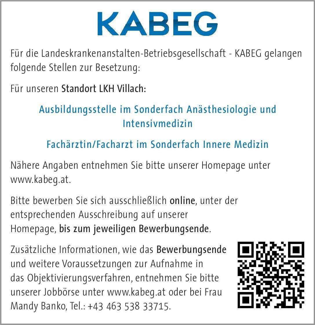 Landeskrankenanstalten-Betriebsgesellschaft - KABEG Fachärztin/Facharzt im Sonderfach Innere Medizin  Innere Medizin, Innere Medizin Arzt / Facharzt