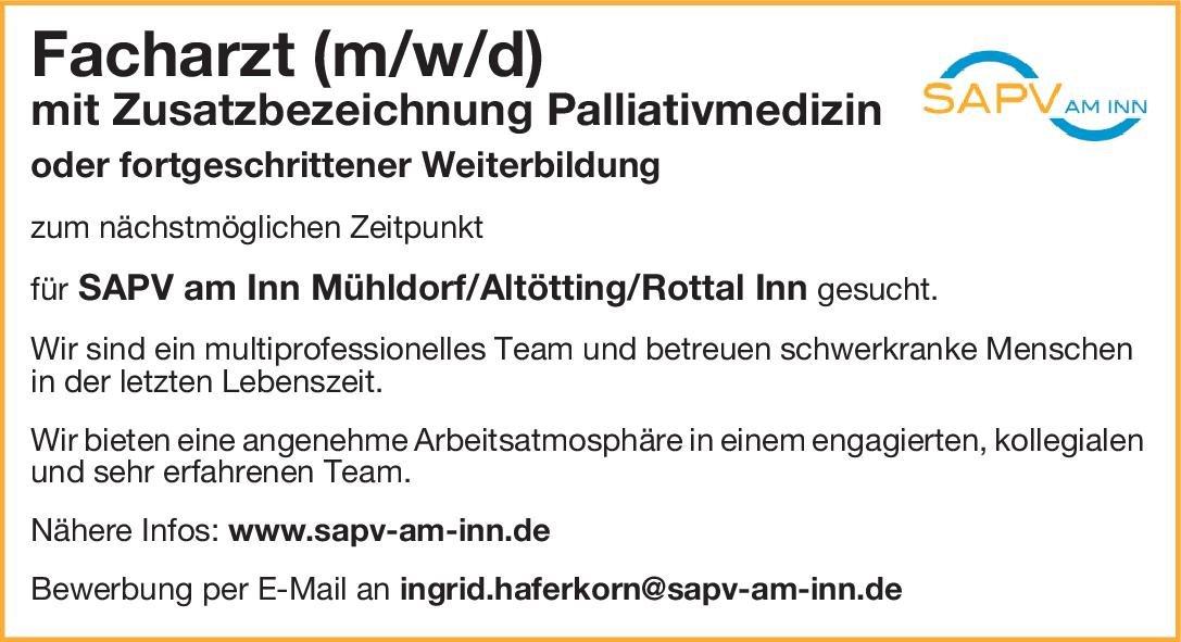 SAPV am Inn Facharzt (m/w/d) mit Zusatzbezeichnung Palliativmedizin Palliativmedizin Arzt / Facharzt
