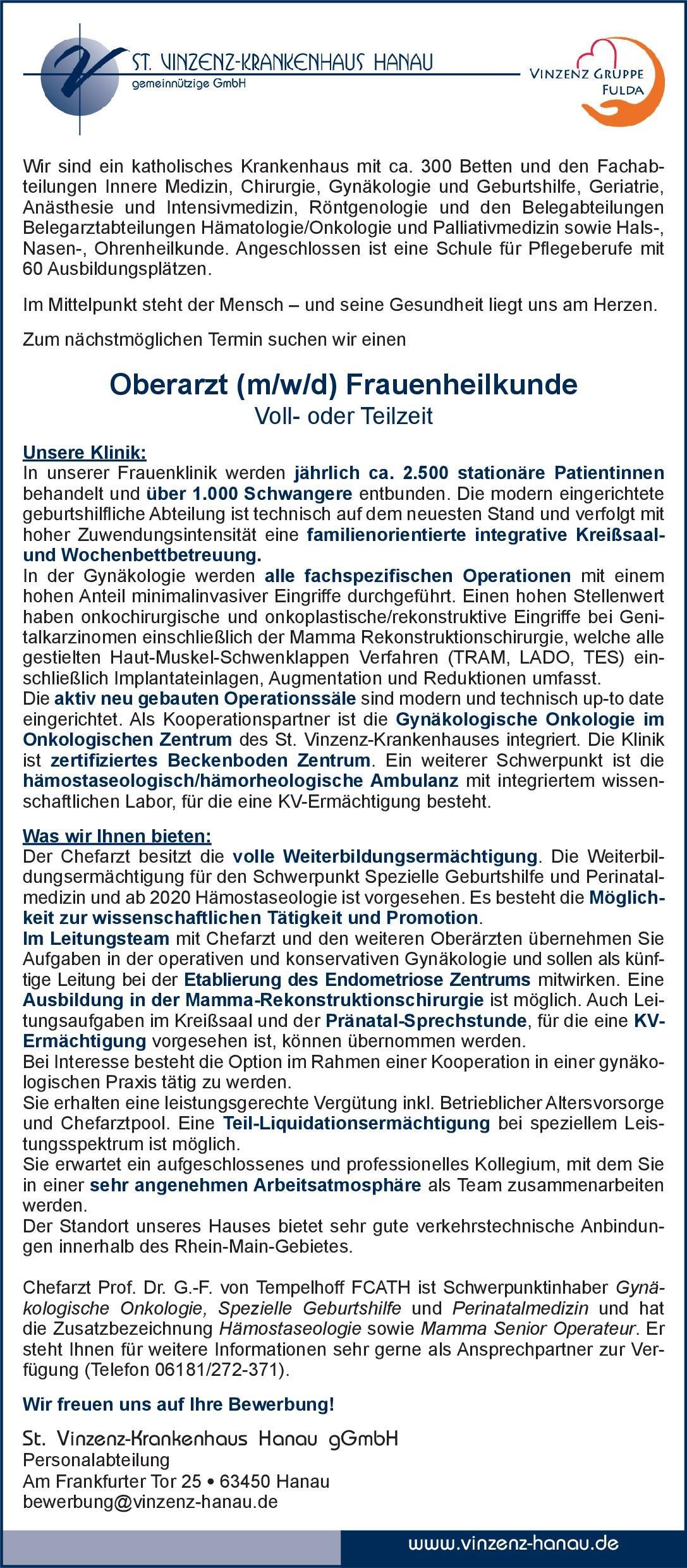 St. Vinzenz-Krankenhaus Hanau Oberarzt (m/w/d) Frauenheilkunde  Frauenheilkunde und Geburtshilfe, Frauenheilkunde und Geburtshilfe Oberarzt