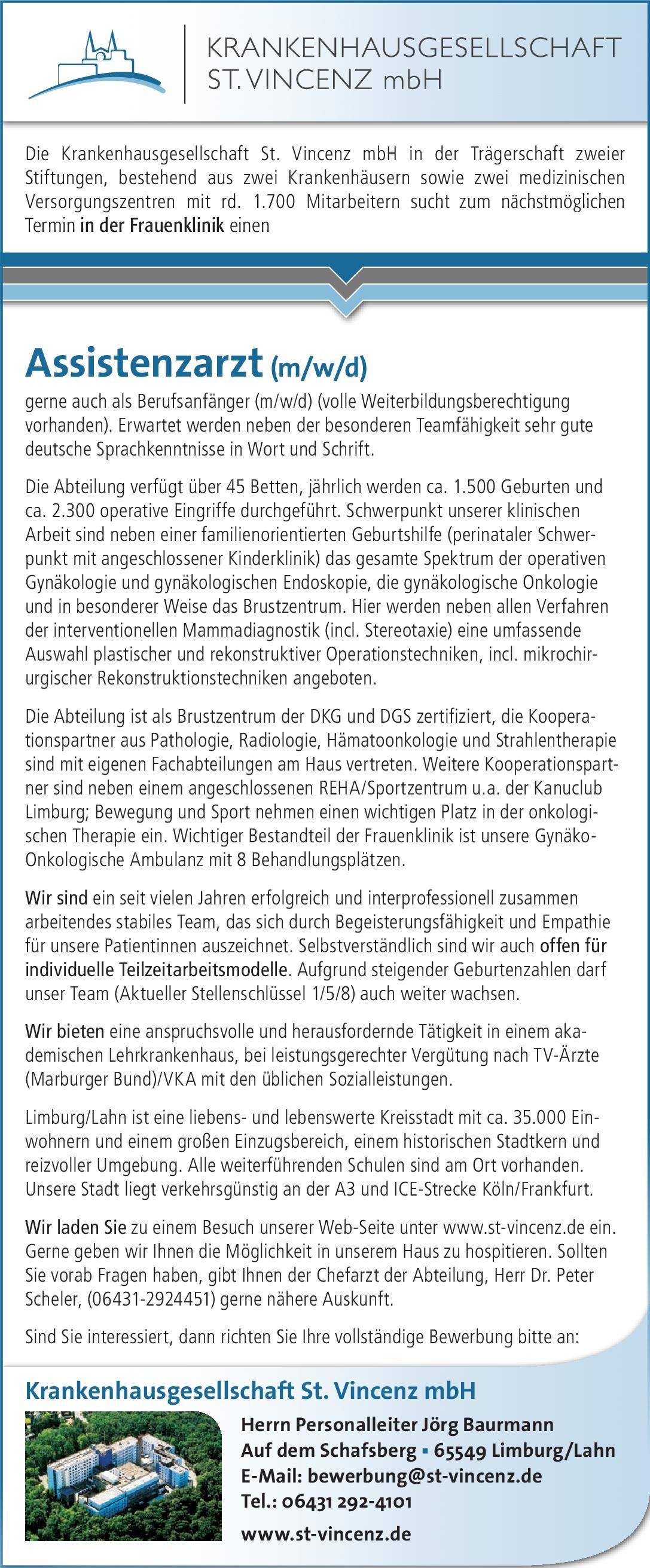 Krankenhausgesellschaft St. Vincenz mbH Assistenzarzt (m/w/d) Frauenheilkunde  Frauenheilkunde und Geburtshilfe, Frauenheilkunde und Geburtshilfe Assistenzarzt / Arzt in Weiterbildung