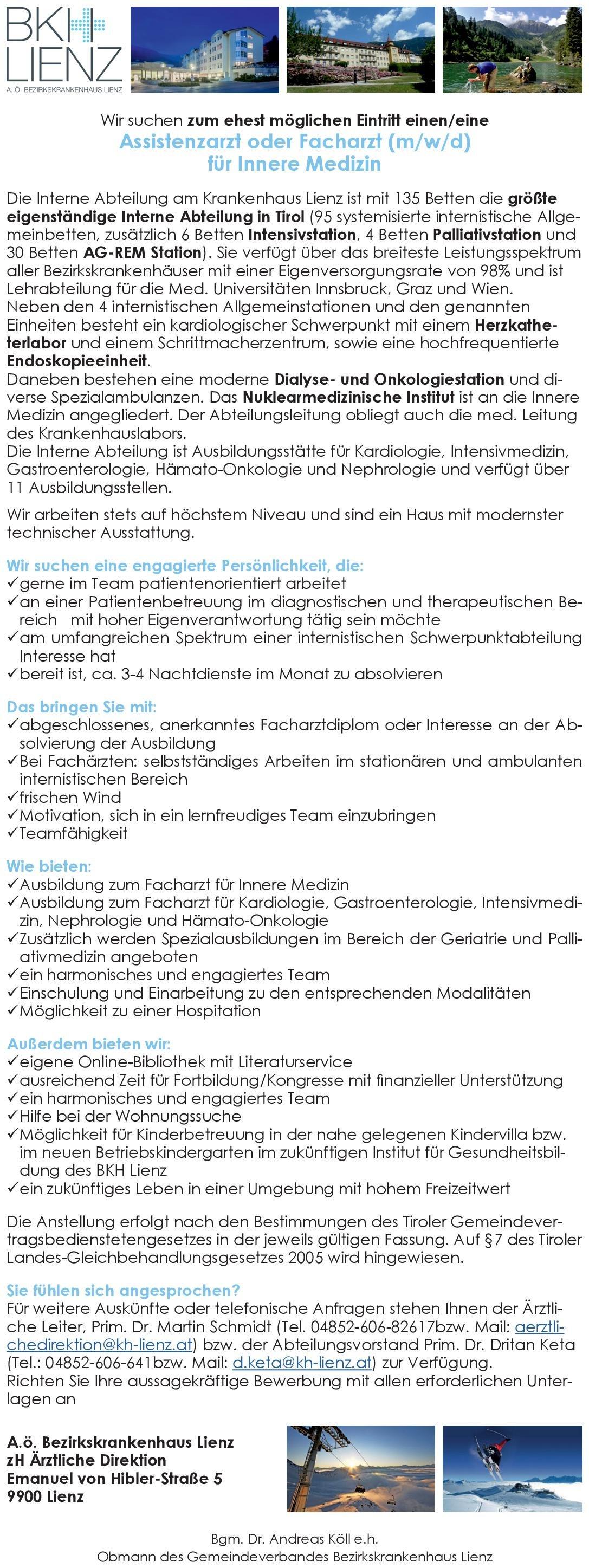 BKH Lienz Assistenzarzt (m/w/d) für Innere Medizin  Innere Medizin, Innere Medizin Assistenzarzt / Arzt in Weiterbildung