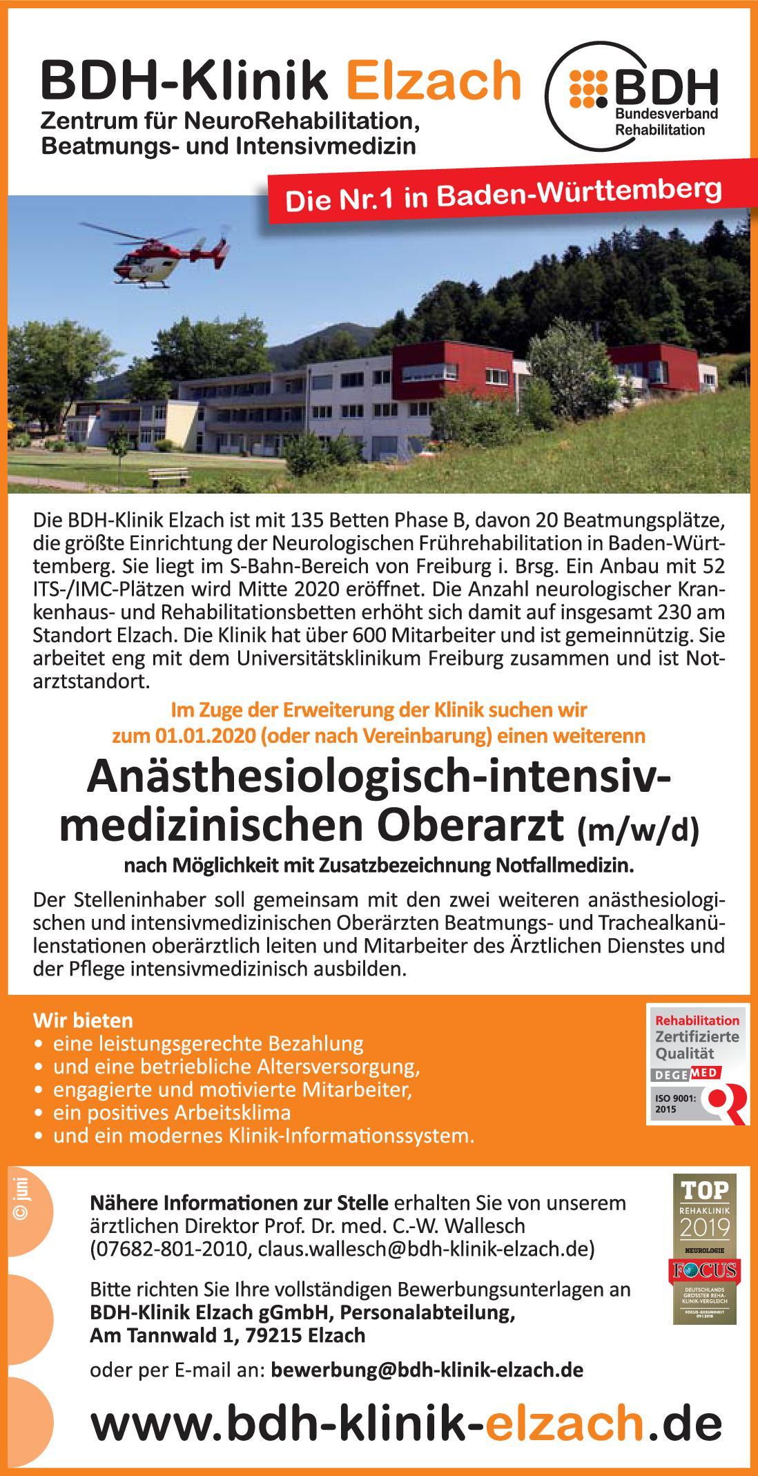 BDH-Klinik Elzach Anästhesiologisch-intensivmedizinischer Oberarzt (m/w/d) Anästhesiologie / Intensivmedizin Oberarzt