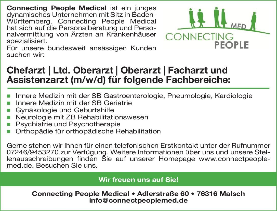 Connecting People Medical Chefarzt / Ltd. Oberarzt / Oberarzt / Facharzt und Assistenzarzt (m/w/d) Innere Medizin/Geriatrie Geriatrie, Innere Medizin Arzt / Facharzt, Assistenzarzt / Arzt in Weiterbildung, Chefarzt