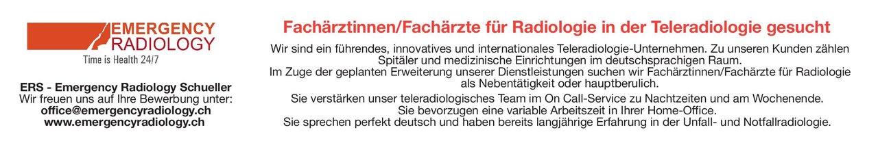 ERS - Emergency Radiology Schueller Fachärztin/Facharzt für Radiologie  Radiologie, Radiologie Arzt / Facharzt