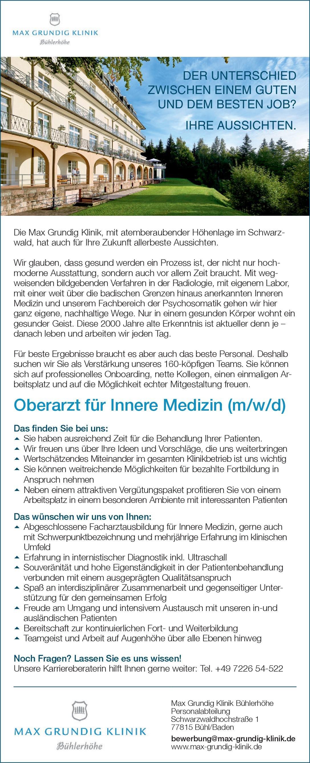 Max Grundig Klinik Bühlerhöhe Oberarzt für Innere Medizin (m/w/d)  Innere Medizin, Innere Medizin Oberarzt