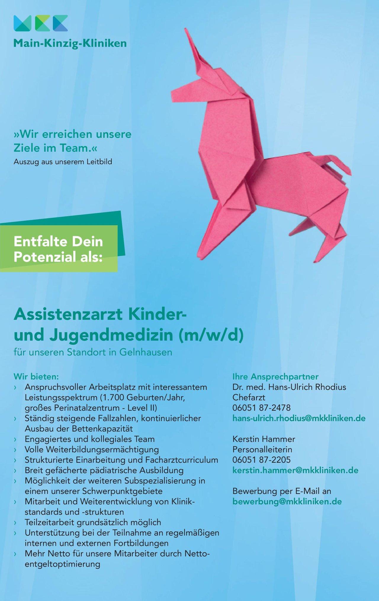 Main-Kinzig-Kliniken Assistenzarzt Kinder- und Jugendmedizin (m/w/d)  Kinder- und Jugendmedizin, Kinder- und Jugendmedizin Assistenzarzt / Arzt in Weiterbildung