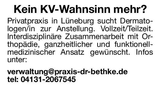 Privatpraxis Dermatologe/in Haut- und Geschlechtskrankheiten Arzt / Facharzt