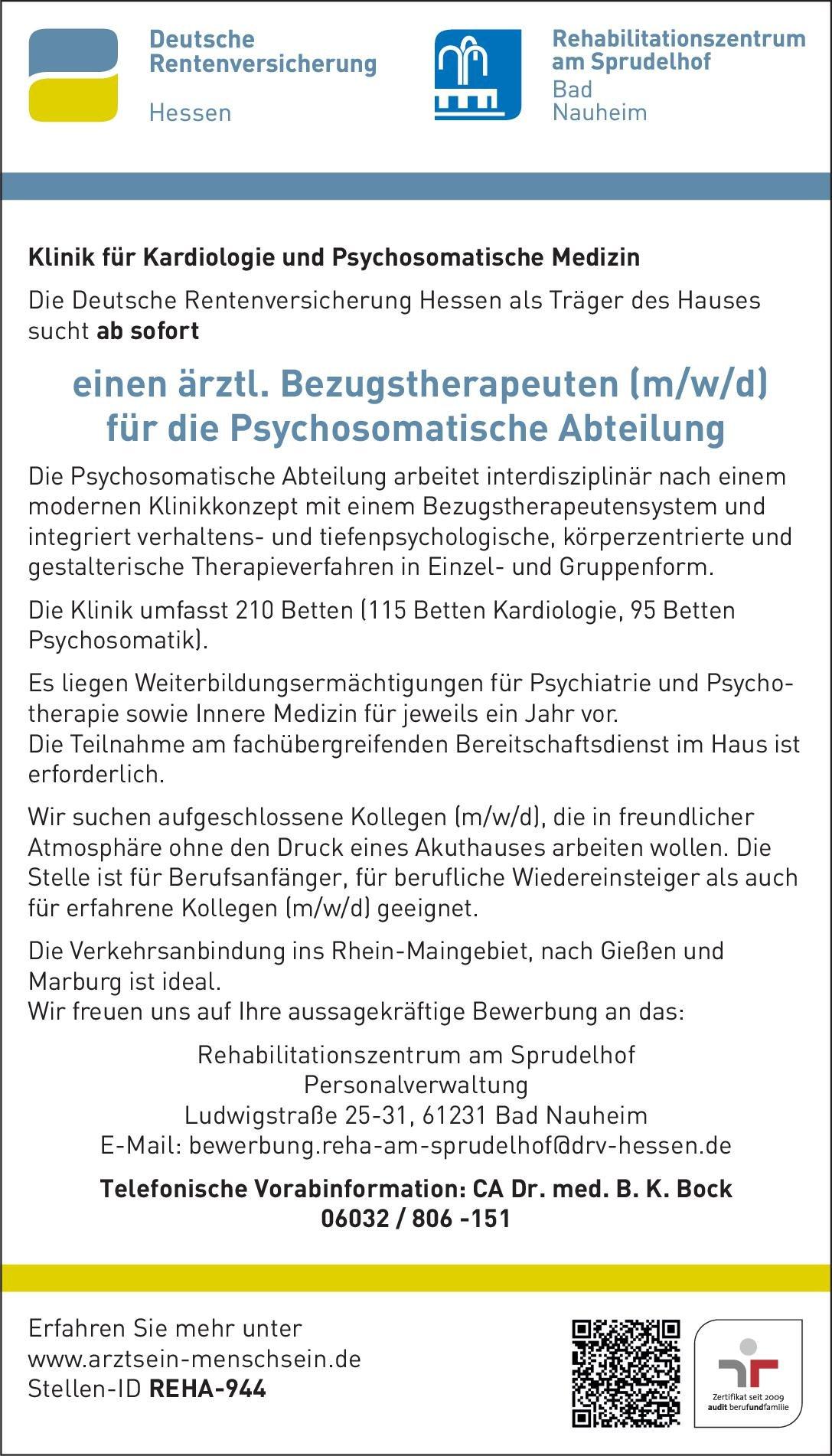 DRV Hessen - Rehabilitationszentrum am Sprudelhof Ärztl. Bezugstherapeut (m/w/d) für die Psychosomatische Abteilung Psychosomatische Medizin und Psychotherapie Arzt / Facharzt