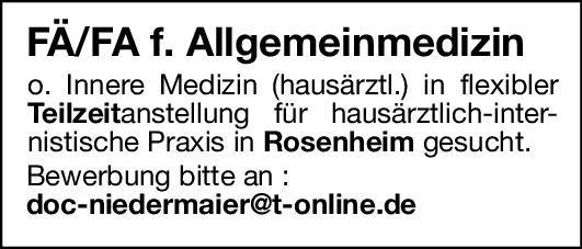 Praxis Fachärztin / Facharzt Allgemeinmedizin o. Innere Medizin Allgemeinmedizin, Innere Medizin Arzt / Facharzt