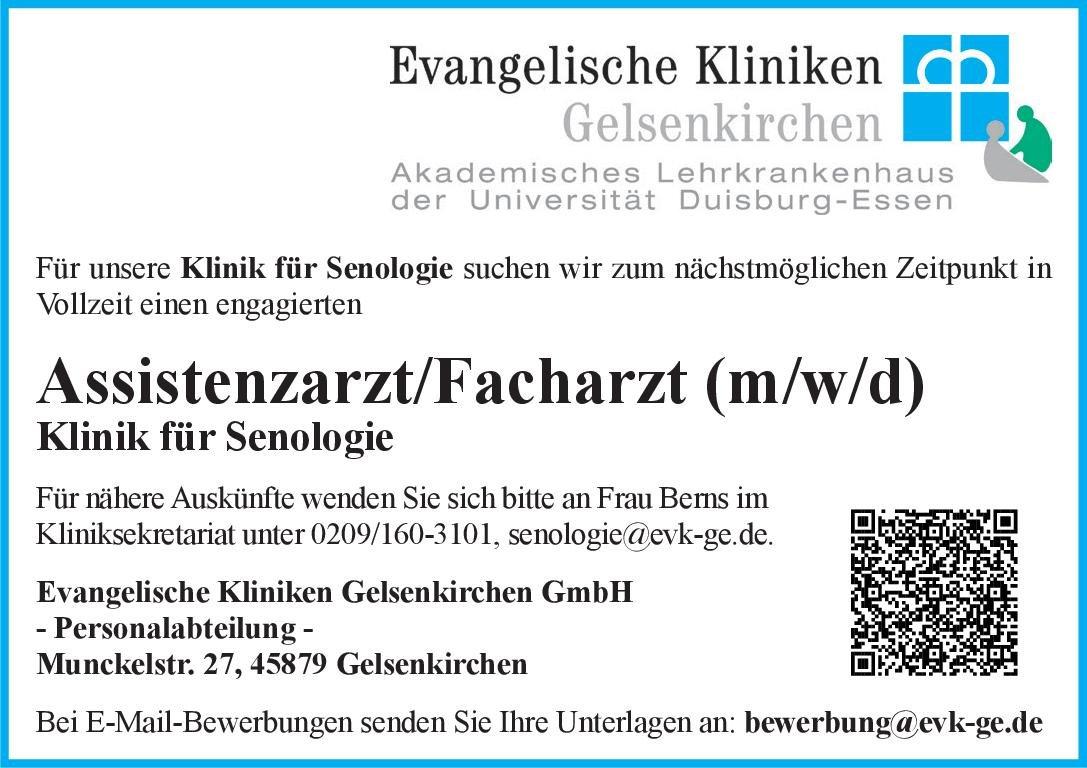 Evangelische Kliniken Gelsenkirchen GmbH Assistenzarzt/Facharzt (m/w/d) für Senologie  Frauenheilkunde und Geburtshilfe, Frauenheilkunde und Geburtshilfe Arzt / Facharzt, Assistenzarzt / Arzt in Weiterbildung
