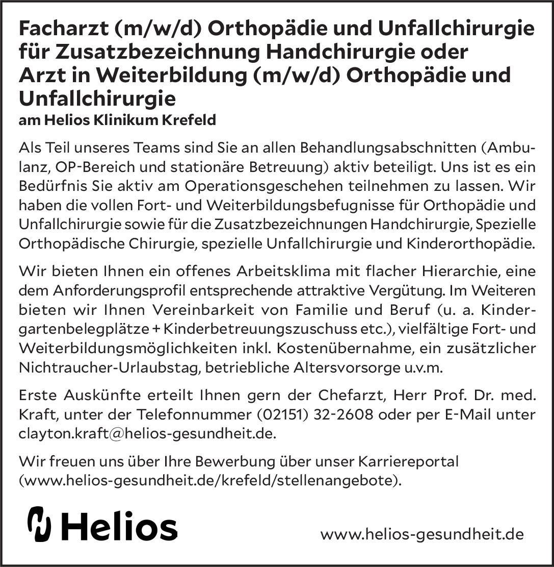 Helios Klinikum Krefeld Facharzt (m/w/d) Orthopädie und Unfallchirurgie für Zusatzbezeichnung Handchirurgie oder Arzt in Weiterbildung (m/w/d) Orthopädie und Unfallchirurgie  Orthopädie und Unfallchirurgie, Chirurgie Arzt / Facharzt, Assistenzarzt / Arzt in Weiterbildung