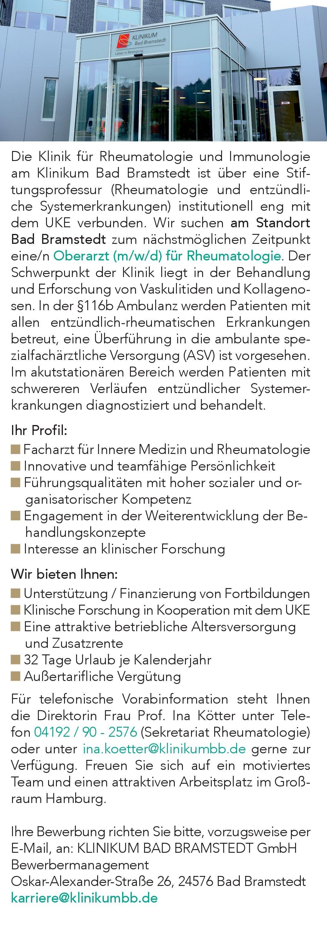 KLINIKUM BAD BRAMSTEDT GmbH Oberarzt (m/w/d) für Rheumatologie.  Innere Medizin und Rheumatologie, Innere Medizin Oberarzt