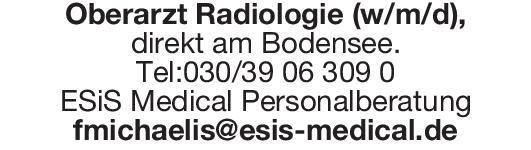 ESiS Medical Personalberatung Oberarzt Radiologie (w/m/d  Radiologie, Radiologie Oberarzt