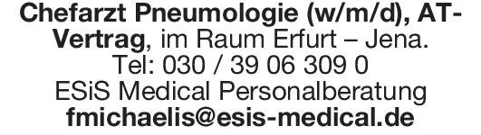 ESiS Medical Personalberatung Chefarzt Pneumologie (w/m/d  Innere Medizin und Pneumologie, Innere Medizin Chefarzt