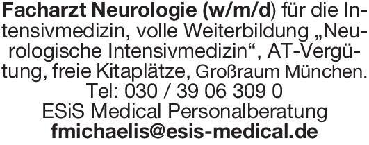 ESiS Medical Personalberatung Facharzt Neurologie (w/m/d) Neurologie Arzt / Facharzt