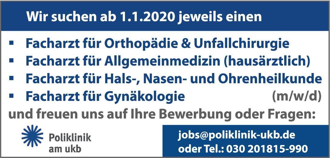 Poliklinik am UKB Facharzt (m/w/d) für Hals-, Nasen- und Ohrenheilkunde  Hals-Nasen-Ohrenheilkunde, Hals-Nasen-Ohrenheilkunde Arzt / Facharzt