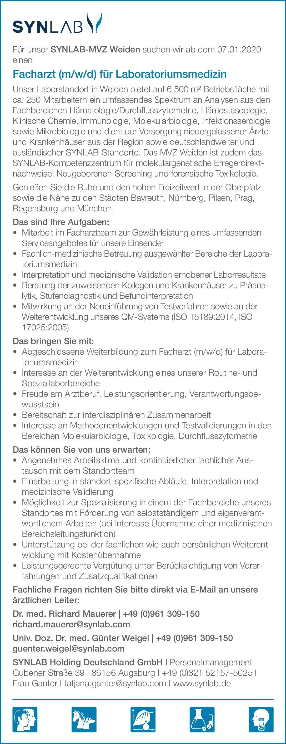 SYNLAB Holding Deutschland GmbH Facharzt (m/w/d) für Laboratoriumsmedizin Laboratoriumsmedizin Arzt / Facharzt