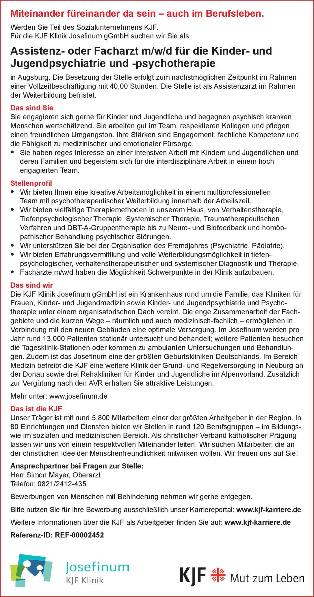 Josefinum Klinik Assistenz- oder Facharzt m/w/d für die Kinder- und Jugendpsychiatrie und -psychotherapie Kinder- und Jugendpsychiatrie und -psychotherapie Arzt / Facharzt, Assistenzarzt / Arzt in Weiterbildung