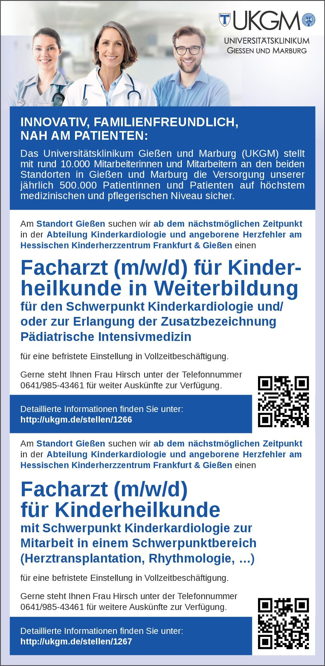 Universitätsklinikum Gießen und Marburg Facharzt (m/w/d) für Kinderheilkunde in Weiterbildung  Kinderkardiologie, Kinder- und Jugendmedizin Arzt / Facharzt
