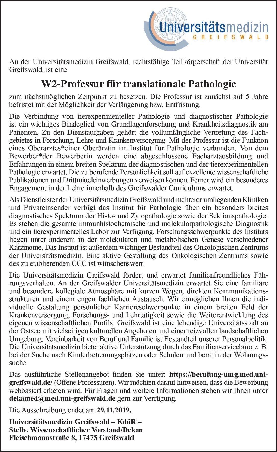 Universitätsmedizin Greifswald W2-Professur für translationale Pathologie  Pathologie Professor