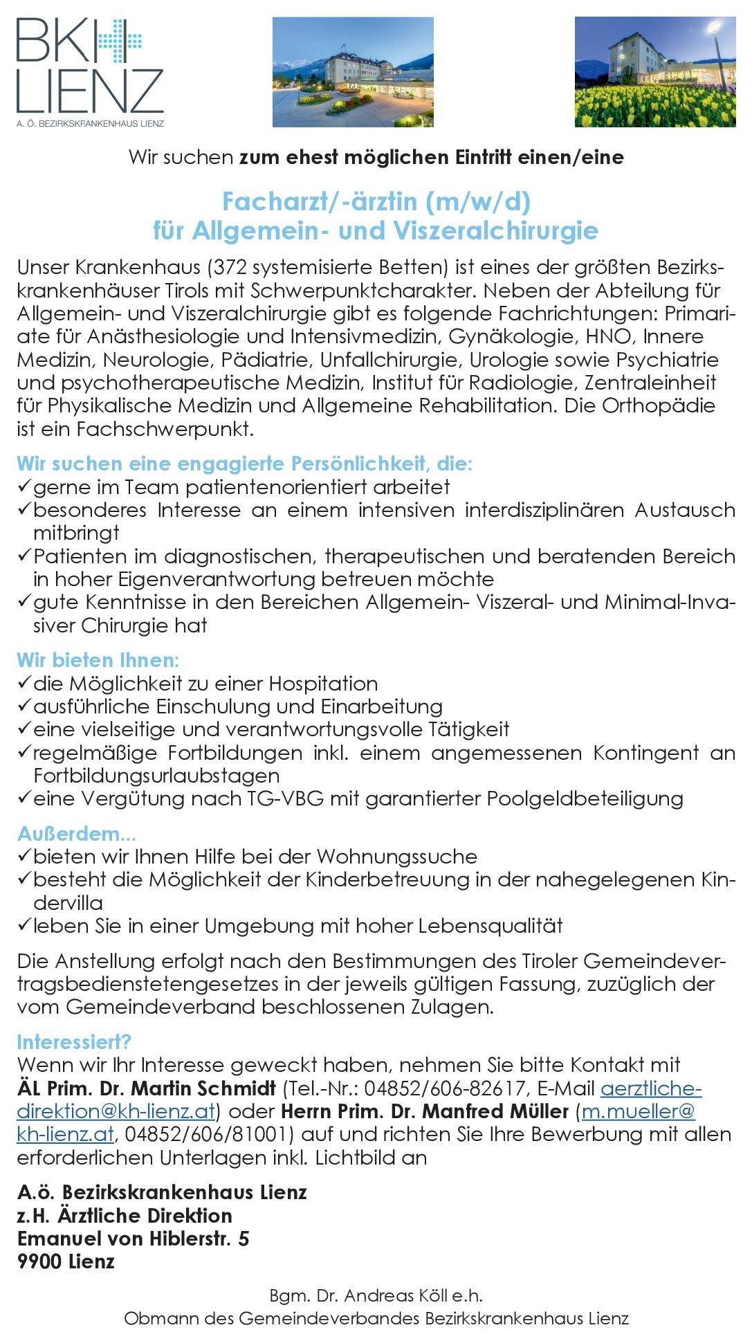 BKH Lienz Facharzt (m/w/d) für Allgemein- und Viszeralchirurgie  Viszeralchirurgie, Chirurgie Arzt / Facharzt