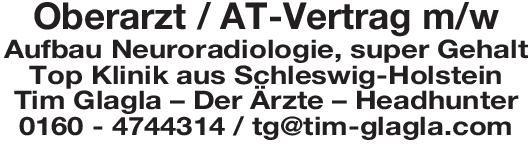 Tim Glagla – Der Ärzte – Headhunter Oberarzt / AT-Vertrag m/w Aufbau Neuroradiologie  Neuroradiologie, Radiologie Oberarzt