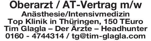 Tim Glagla – Der Ärzte – Headhunter Oberarzt / AT-Vertrag m/w Anästhesie/Intensivmedizin Anästhesiologie / Intensivmedizin Oberarzt