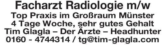 Tim Glagla – Der Ärzte – Headhunter Facharzt Radiologie m/w  Radiologie, Radiologie Arzt / Facharzt