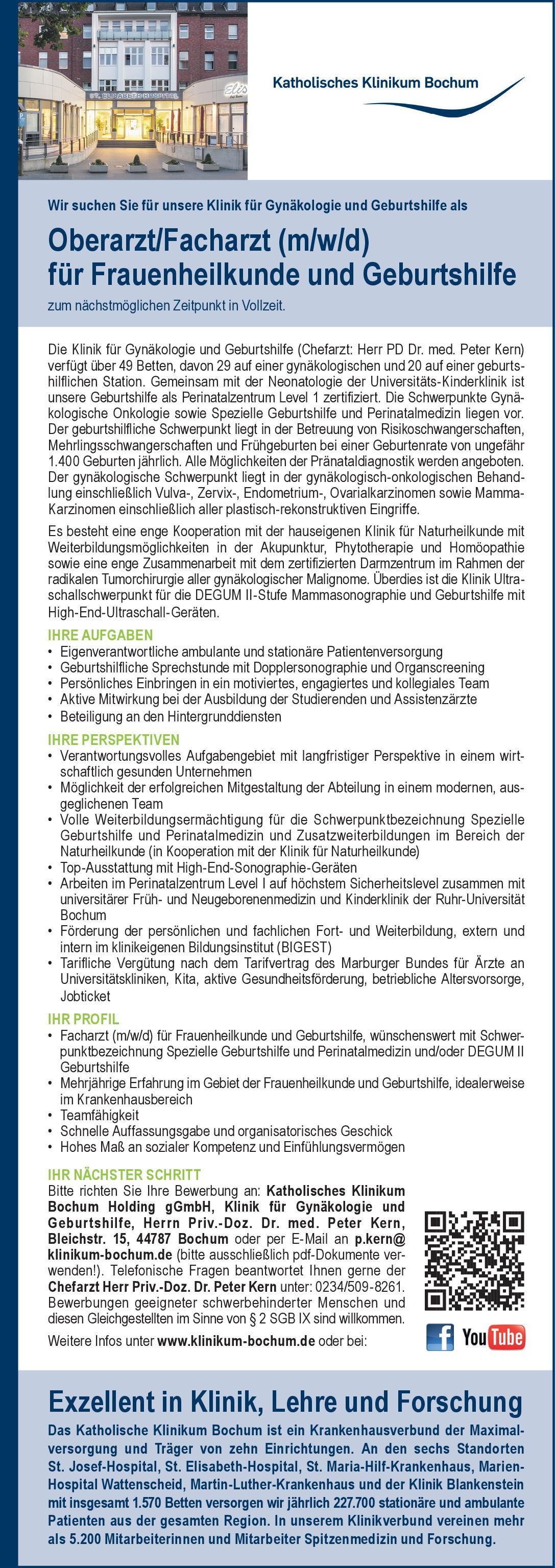 Katholisches Klinikum Bochum Oberarzt/Facharzt (m/w/d) für Frauenheilkunde und Geburtshilfe  Frauenheilkunde und Geburtshilfe, Frauenheilkunde und Geburtshilfe Arzt / Facharzt, Oberarzt