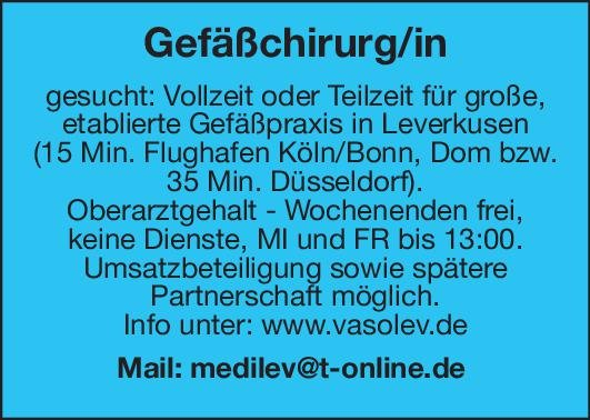 Gefäßpraxis Gefäßchirurg/in  Gefäßchirurgie, Chirurgie Arzt / Facharzt