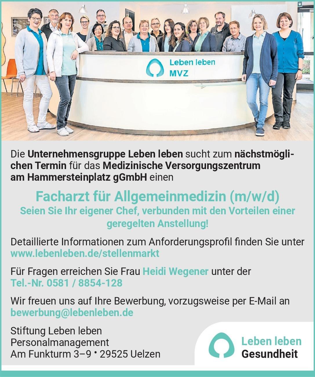 Medizinisches Versorgungszentrum am Hammersteinplatz gGmbH Facharzt für Allgemeinmedizin (m/w/d) Allgemeinmedizin Arzt / Facharzt
