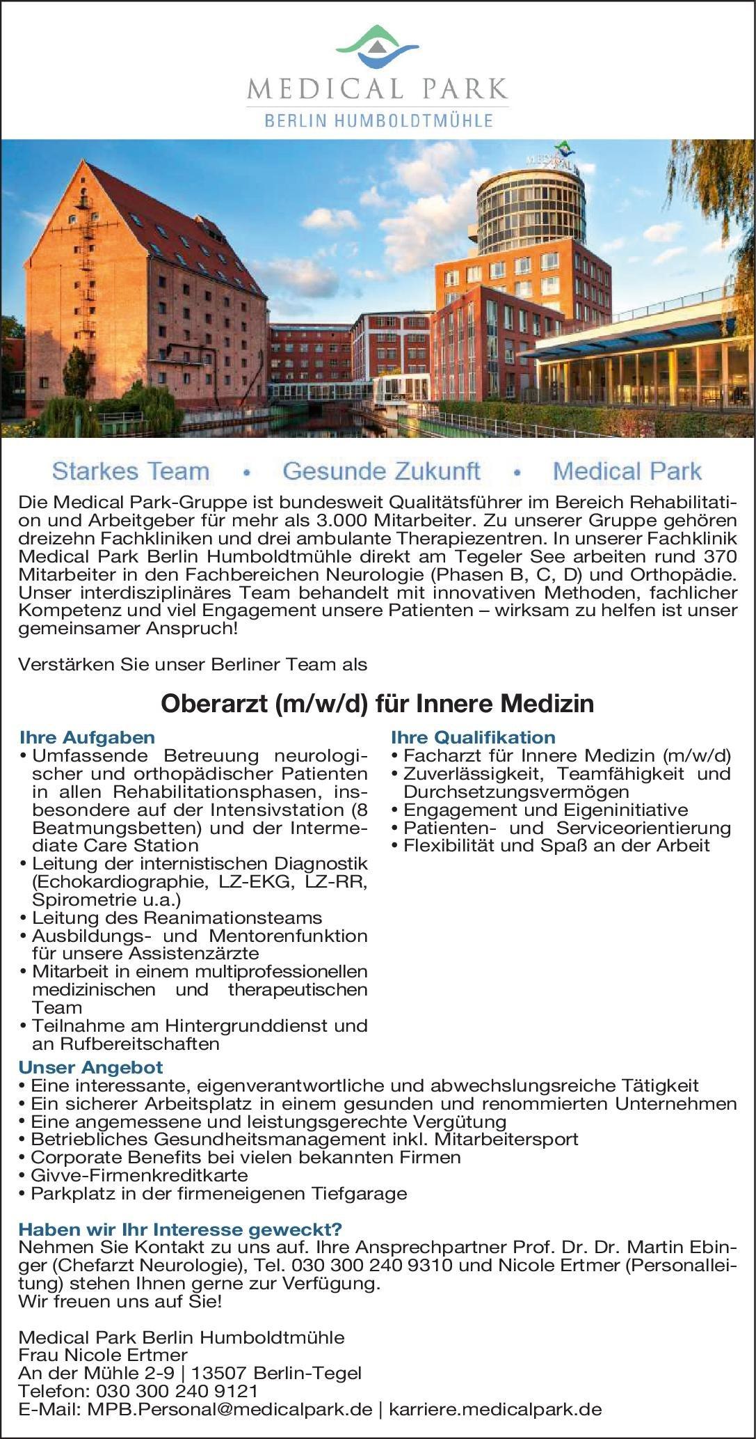 Medical Park Berlin Humboldtmühle Oberarzt (m/w/d) für Innere Medizin  Innere Medizin, Innere Medizin Oberarzt