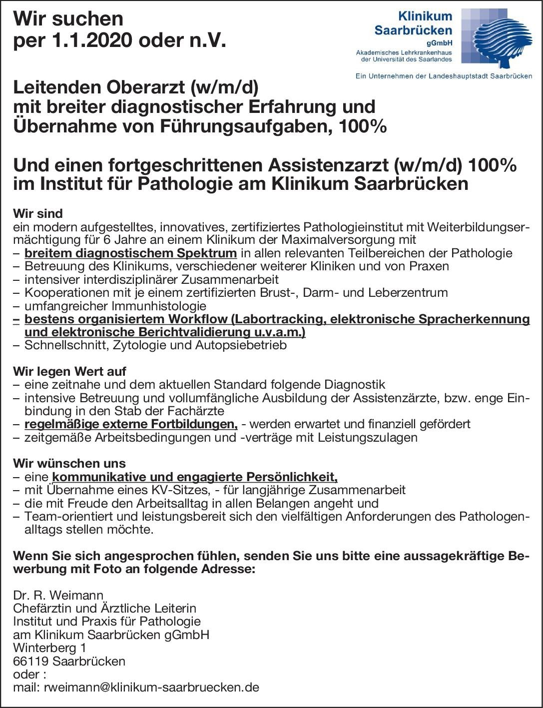Institut für Pathologie am Klinikum Saarbrücken Leitender Oberarzt (w/m/d) mit breiter diagnostischer Erfahrung und Übernahme von Führungsaufgaben, 100%  Pathologie Oberarzt