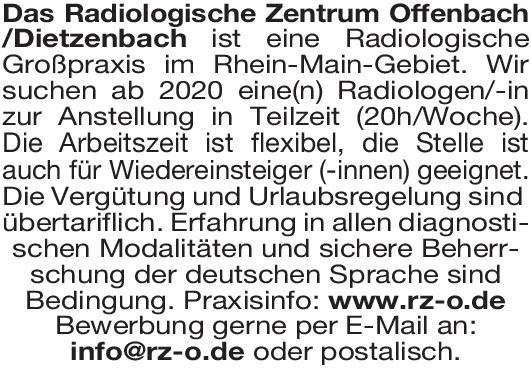 Radiologisches Zentrum Arzt/Ärztin für Radiologie  Radiologie, Radiologie Arzt / Facharzt
