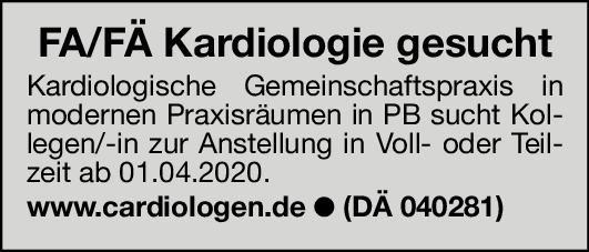 Kardiologische Gemeinschaftspraxis Facharzt/Fachärztin für Kardiologie  Innere Medizin und Kardiologie, Innere Medizin Arzt / Facharzt