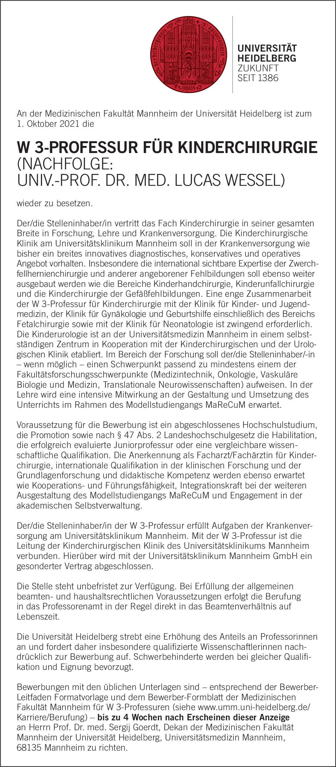 Universität Heidelberg W 3-Professur für Kinderchirurgie  Kinderchirurgie, Chirurgie Professor