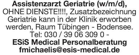 ESiS Medical Personalberatung Assistenzarzt Geriatrie (w/m/d) Geriatrie Assistenzarzt / Arzt in Weiterbildung