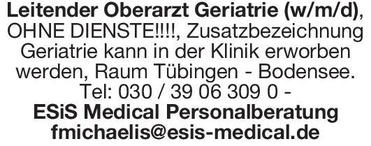 ESiS Medical Personalberatung Leitender Oberarzt Geriatrie (w/m/d) Geriatrie Oberarzt