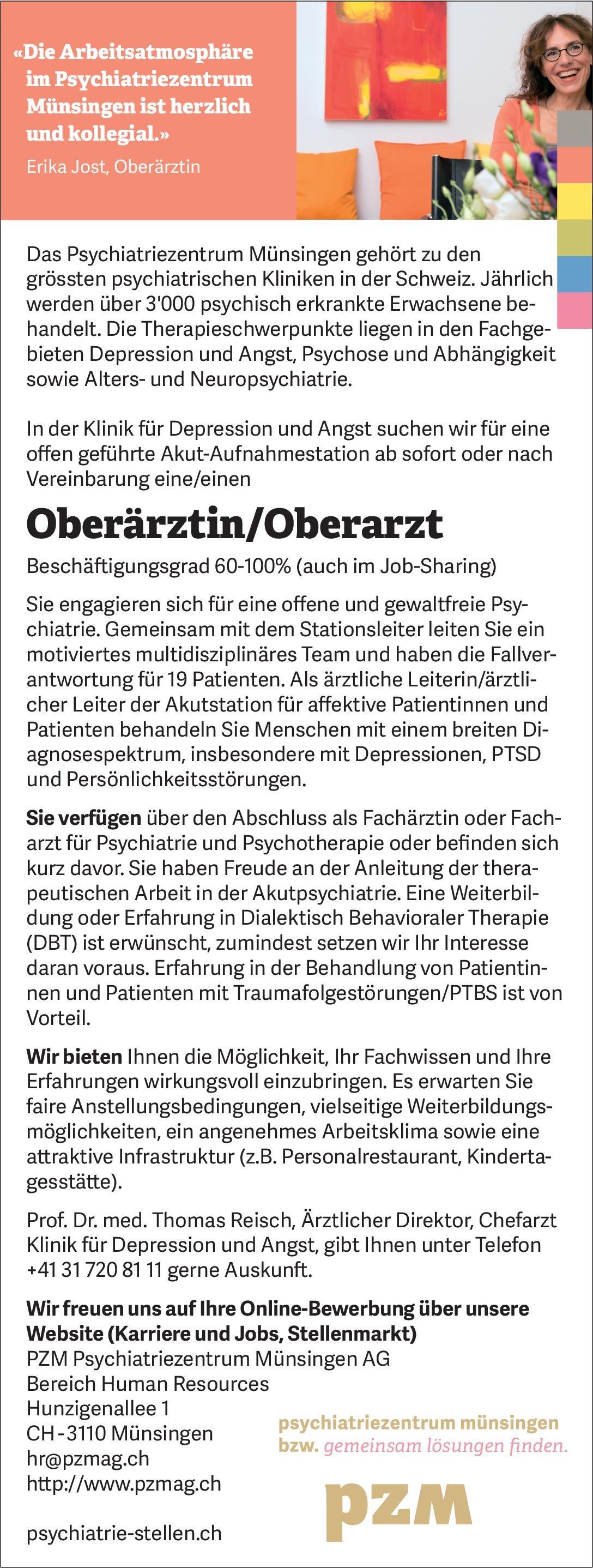 PZMPsychiatriezentrumMünsingen AG Oberärztin/Oberarzt Psychiatrie und Psychotherapie  Psychiatrie und Psychotherapie, Psychiatrie und Psychotherapie Arzt / Facharzt, Oberarzt