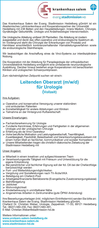 Krankenhaus Salem der Evang. Stadtmission Heidelberg gGmbH Leitender Oberarzt (m/w/d) für Urologie Urologie Oberarzt